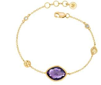 Missoma 18ct Gold Plated 'Athena' Bracelet with Central Amethyst of Length 17-18cm