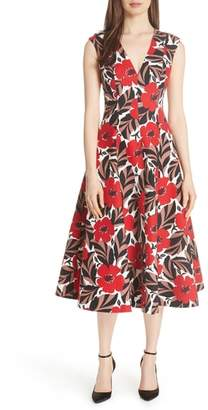 KATE SPADE NEW YORK poppy field structured midi dress