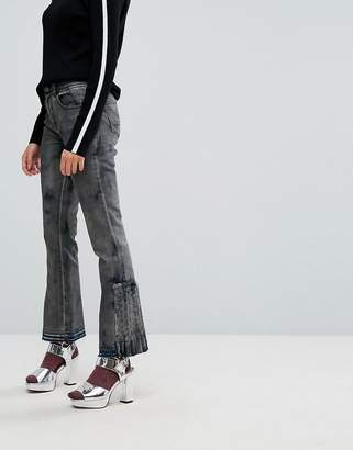 Iceberg Pleat Detail Crop Kick Flare Jeans with Let Down Hem