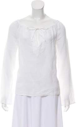 Michael Kors Linen Long Sleeve Blouse