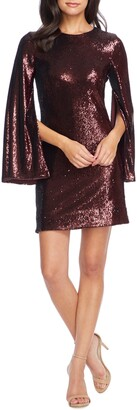 Dress the Population Liza Long Cape Sleeve Sequin Minidress