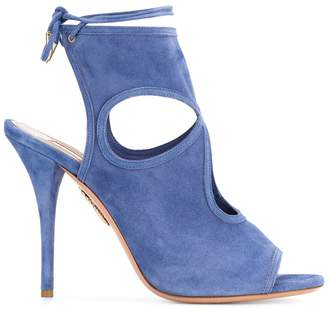 Aquazzura Blue Sexy Thing 110 suede sandals