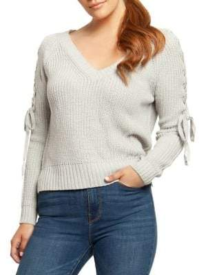 Dex V-Neck Lace-Up Sleeve Sweater
