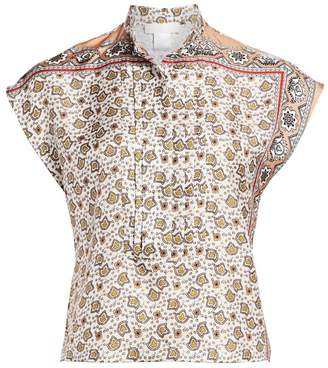 Chloé Bandanna Print Silk Cap Sleeve Shirt