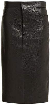 Raey Tumbled Leather Midi Pencil Skirt - Womens - Black