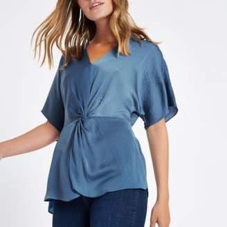 River Island Womens Petite blue twist front top