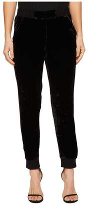 The Kooples Velvet High-Waisted Trousers with Ribbed Edging Women's Casual Pants