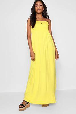 boohoo NEW Womens Shirred Bandeau Maxi Dress in Polyester