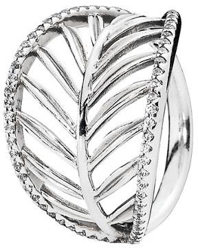 Pandora Silver Cz Palm Leaf Ring