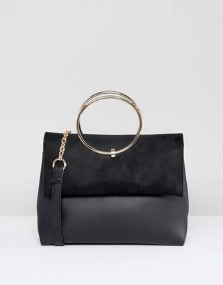 New Look Ring Detail Metal Handle Bag