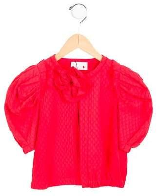 Lanvin Petite Girls' Bow-Embellished Short Sleeve Jacket