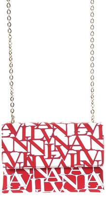 Lanvin Sugar Logoed White & Ruby Leather Bag
