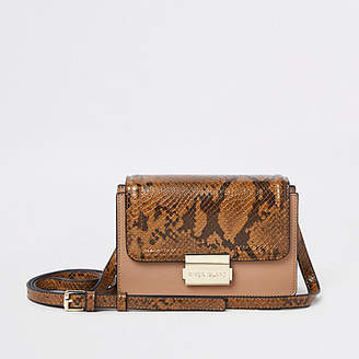 River Island Beige snake print panel mini cross body bag