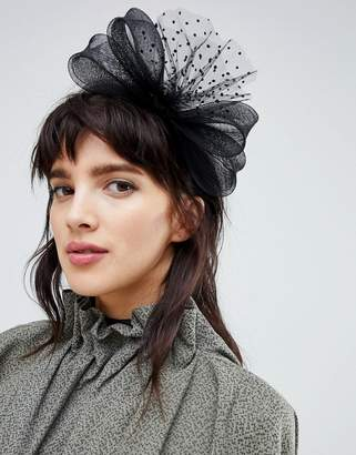 Asos DESIGN Occasion Polka Dot Mesh Bow Fascinator Headband