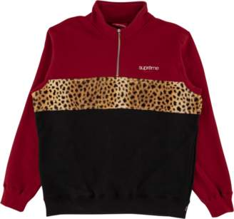 Supreme Leopard Panel Half Zip Sweatsh - 'FW 18' - Cardinal