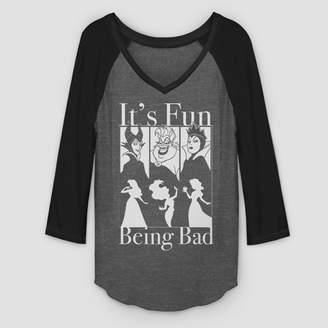 Fifth Sun Women's 3/4 Sleeve Disney Fun Being Bad Raglan T-Shirt - Gray/Black