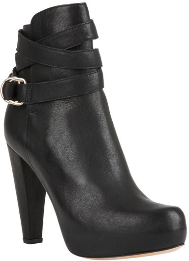 Loeffler Randall Maribel D-Ring Belted Bootie in Black Calf