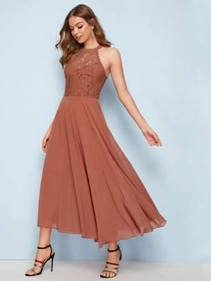 Shein Contrast Lace Open Back Formal Dress