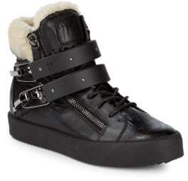 Giuseppe Zanotti Leather Shearling Trim Sneakers