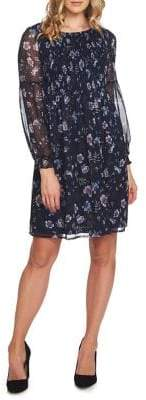 CeCe Velvet Petals Smocked Shift Dress