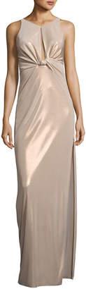 Halston Sleeveless Twist-Back Metallic Jersey Column Gown
