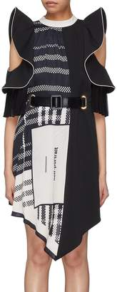 Self-Portrait Scarf print panel pleated ruffle dress