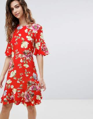 Warehouse Floral Print Frill Hem Skater Dress