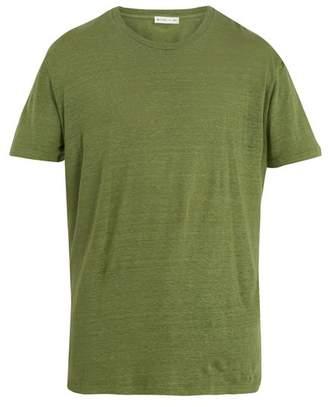 Etro Crew Neck Linen Jersey T Shirt - Mens - Grey
