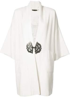 Josie Natori embroidered dragon back cardi-coat