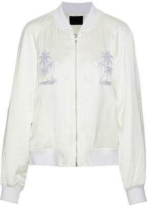 Alexander Wang Embroidered Satin-Twill Bomber Jacket