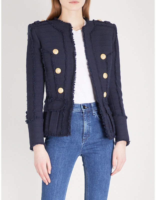 Double-breasted woven jacket
