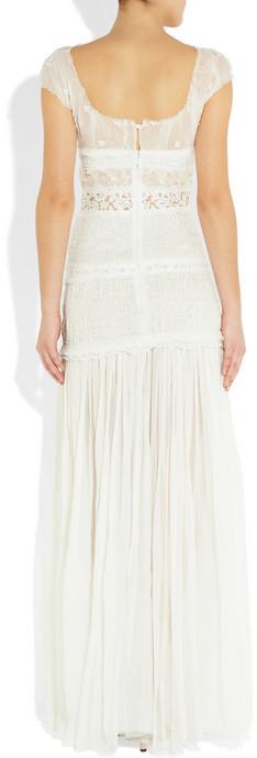 Nina Ricci Lace-trimmed silk-chiffon gown
