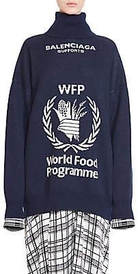Balenciaga Women's Virgin Wool Oversized WPF Turtleneck