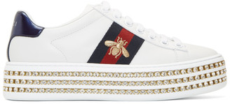 Gucci White Crystal New Ace Sneakers