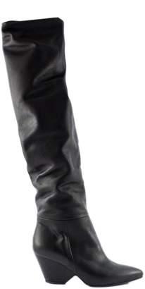 Vic Matié Black Stretch Leather Boots.