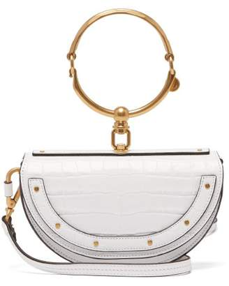 Chloé Nile Minaudiere Crocodile Effect Leather Clutch - Womens - White