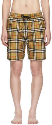 Burberry Yellow Vintage Check Swim Shorts