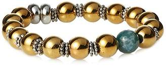 Ettika Large Faceted Marble Accent Bead Pyrite and Metal Bead Stretch Bracelet