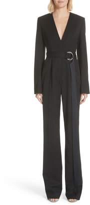 Calvin Klein Side Stripe Wool Blend Jumpsuit