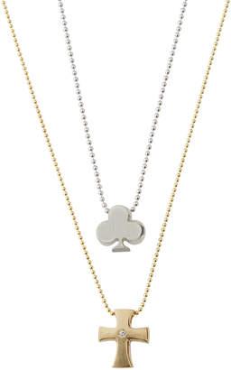 Alex Woo Little Faith Cross & Club Necklace, Two-Tone