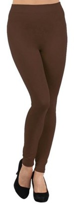 BEIGE K-Cliffs Solid Color Seamless Fleece Lined Legging, Ivory