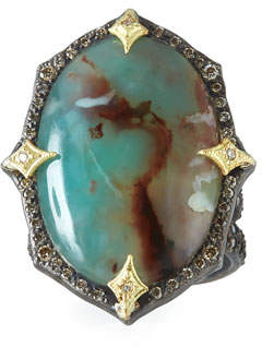 Armenta Old World Aquaprase Oval Cabochon Ring with Diamonds