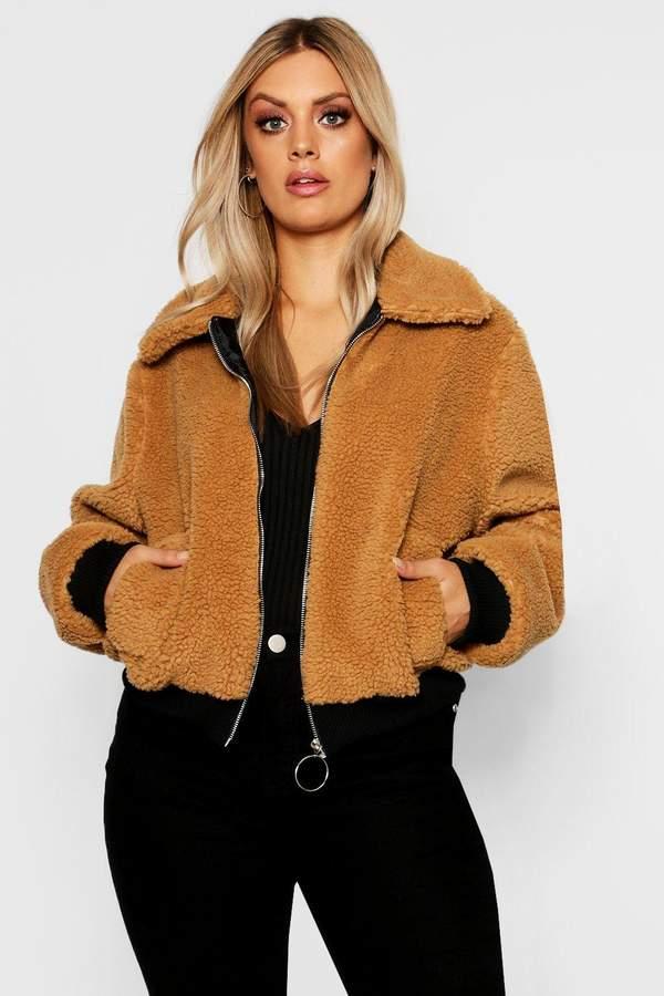 Plus Faux Fur Teddy Bomber Coat