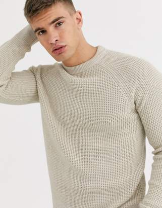 New Look tuck stitch crew neck jumper in oatmeal
