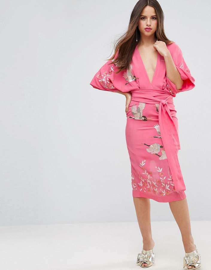 AsosASOS Embroidered Kimono Bird Midi Dress