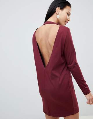 Asos DESIGN Open Back T-Shirt Dress with V Back and Long Sleeves