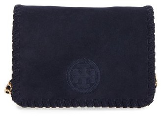 Tory Burch 'Marion' Suede Crossbody Bag - Blue $425 thestylecure.com