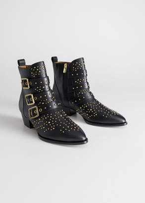 Trio Buckle Studded Ankle Boots