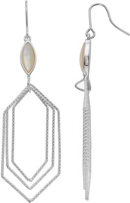 Mother of Pearl Olive & Ivy olive & ivy Silver Plated Mother-of-Pearl Graduated Hexagon Drop Earrings