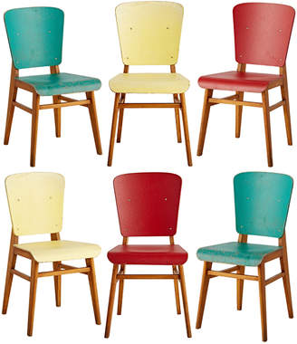 Rejuvenation Set of 6 Colorful French Prouve-Style Chairs